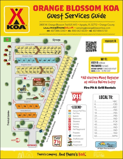 Orlando NW/Orange Blossom KOA campground map